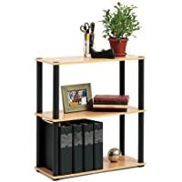 Three-shelf Bookcase,open Sided in Black and Light Oak