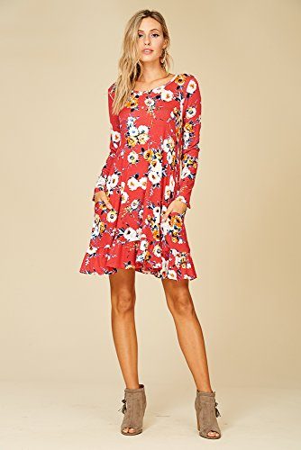 Floral 4 Comfy with Scoop Swing 3 Dress Sleeve Coral Neck Annabelle Pockets Women's FPUqAA