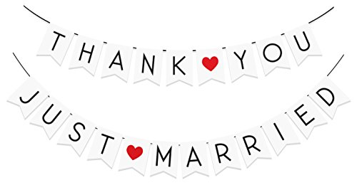 "2 PACK - ""Just Married"" & ""Thank You"" Banner Pack - Wedding Decorations for Reception, Bridal Shower and Engagement Photos – Wedding Signs Garlands and Bunting Banners (White Tree Petals Rose Dollar)"