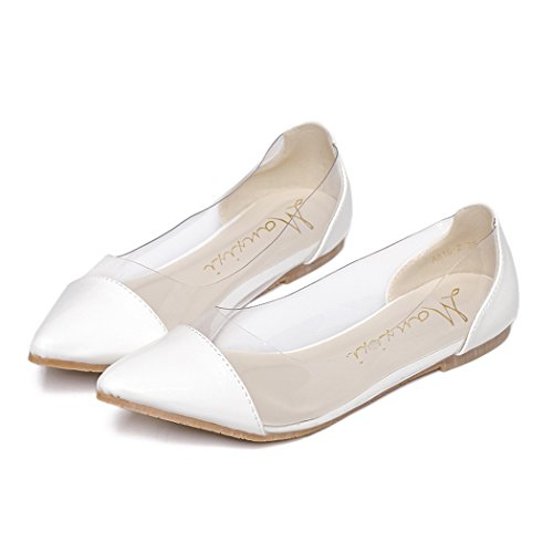 l Patchwork Patent Leather Point Toe Flat Slip on Transparent Shoes (6 B(M) US, White) (Patchwork Flat Shoes)