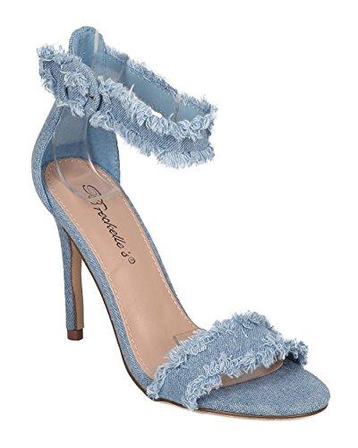 Sandalo Stiletto Denim Sfrangiato Da Donna Breckelles - Elegante, Casual, Trendy - Sandalo Con Cinturino Alla Caviglia - Gh07 By Blue Denim
