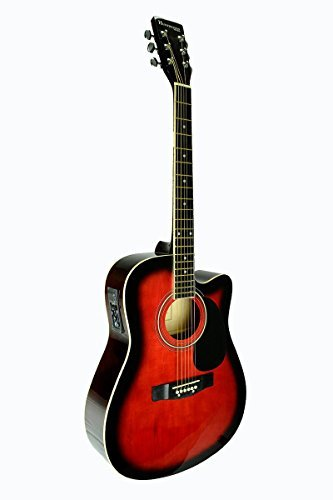 Full Size RED Acoustic Electric Guitar Cutaway with 3 EQ, DirectlyCheap(TM) Translucent Blue Medium Guitar Pick
