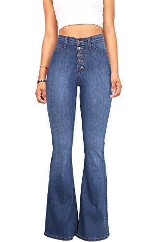 Vibrant Women's Juniors High Rise Button Fly Flare Jeans (11, Medium Denim)