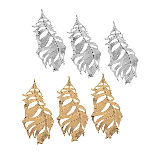 6 pcs Large Feather Charms Pendant Jewelry Making Accessories DIY Project Necklace Jewelry Crafting Key Chain Bracelet Pendants Accessories Best