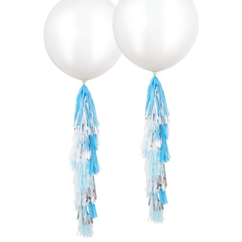 Fonder Mols 2 Pack 36 inch Giant White Round Latex Balloons with Blue Turquoise White Silver Tassels Garlands for Nautical Anchor Frozen Party Hanging Decorations B07
