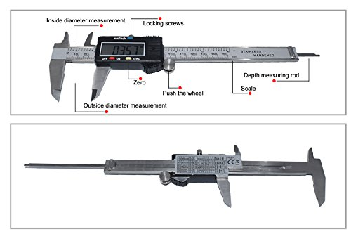 Onebycitess Metric Digital Caliper with LCD Screen 0-6 inch/150mm Stainless Steel Electronic Depth Gauge Measuring Tools by Onebycitess (Image #1)