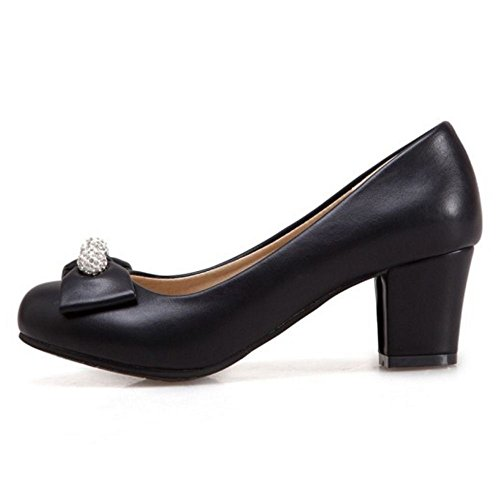 TAOFFEN Women's Office Block Heel Pumps Shoes Black zgMmTbrWEw