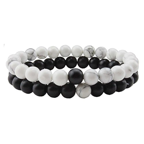 Liuanan 2pcs/set Black Agate/Crystal Gem His/Hers Couples bracelets Girlfriend boyfriend Stretch Bracelets (White Turquoise)
