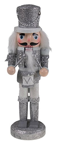"Traditional Drummer Nutcracker by Clever Creations | Collectible Wooden Christmas Nutcracker | Festive Holiday Decor | Silver Glitter Uniform | Holding Drum with Drum Sticks | 100% Wood | 9.5"" Tall"