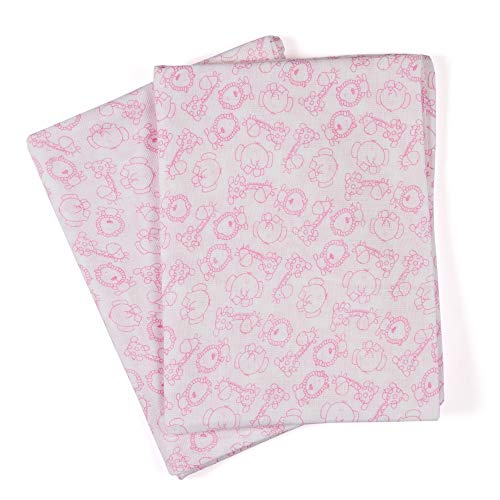 Organic Muslin Bath Towels, Baby Towels, Soft and Absorbent, Fit for Swaddling, Nursing and Gifting, 100% Organic Cotton, 27.5x49 Inch, Pack of 2 - Pink Little Animals ()
