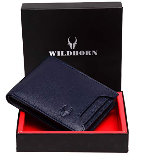 WildHorn RFID Protected  Genuine High Quality Leather Wallet for Men (BLUE)