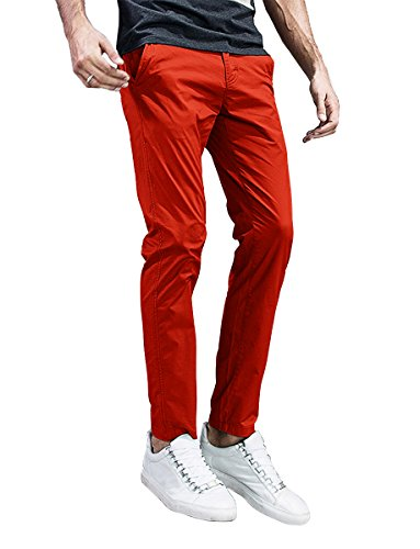 Match Mens Slim-Tapered Flat-Front Casual Pants (32, 8105 Orange)