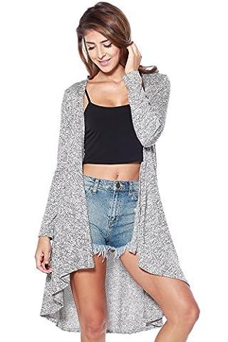 A+D Womens Casual Maxi Drape Sweater Cardigan Top (Grey/Black, Medium)