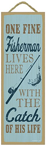 (SJT02573) One fine fisherman lives here with the catch of his life (fishing rod & fish image) lake primitive wood plaques, signs - measure 5