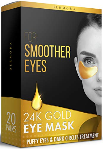24K Gold Eye Mask- 20 Pairs - Puffy Eyes and Dark Circles Treatments - Look Less Tired and Reduce Wrinkles and Fine Lines Undereye, Revitalize and Refresh Your Skin - CrueltyFree and Vegan