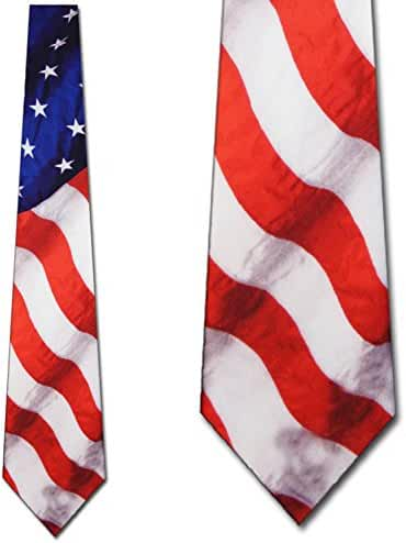 Flag tie Stars Stripes Patriotic Men's Neck Tie by Three Rooker