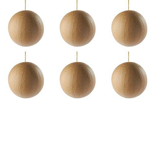 Papier Mache Christmas Ornaments - Unfinished Paper Mache Ball Ornament - 6 Ornaments