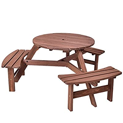 Giantex 6 Person Wooden Picnic Table Set with Wood Bench, with Umbrella Hold Design, Perfect for Outdoor Garden Yard Pub Beer Dining, Dark Brown - 【Rustic Design】: Features a beautiful blend of classic style and practicality, this elegant set is a welcome addition to lawns, patios, decking areas and many other occasions. 【Durable Construction】: It is made of fir wood, sturdy and durable. And it also be treated with water-based paint, which adds an extra layer of protection and provides a beautiful, lustrous finish. 【3 Benches for 6 Person】: 6 Seat wooden bench round table with a max capacity of 500 lbs. - patio-tables, patio-furniture, patio - 414PZDwbyaL. SS400  -