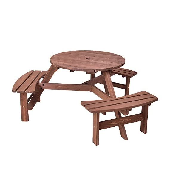 Giantex 6 Person Wooden Picnic Table Set with Wood Bench, with Umbrella Hold Design, Perfect for Outdoor Garden Yard Pub Beer Dining, Dark Brown - 【Rustic Design】: Features a beautiful blend of classic style and practicality, this elegant set is a welcome addition to lawns, patios, decking areas and many other occasions. 【Durable Construction】: It is made of fir wood, sturdy and durable. And it also be treated with water-based paint, which adds an extra layer of protection and provides a beautiful, lustrous finish. 【3 Benches for 6 Person】: 6 Seat wooden bench round table with a max capacity of 500 lbs. - patio-tables, patio-furniture, patio - 414PZDwbyaL. SS570  -