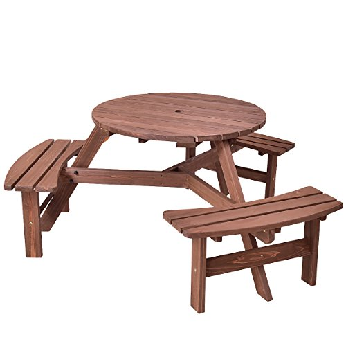 Giantex 6 Person Round Picnic Table Set Outdoor Pub Dining Seat Wood Bench by Giantex