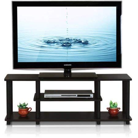 Astonishing Amazon Com Tv Stand For 55 Inch Tv Walnut Black Wood Open Home Interior And Landscaping Mentranervesignezvosmurscom