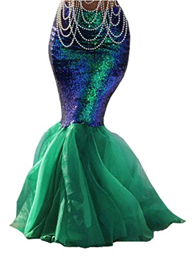 Womens Sexy Mermaid Halloween Costume Fancy Party Sequins Maxi Dress Tail Skirt (US 10, Green) (Mermaid Tail Costume)