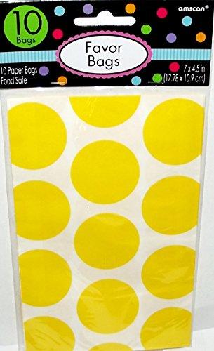 Amscan Sunshine Yellow Polka Dot Favor Bags (10ct) ()