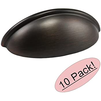 """Cosmas 783ORB Oil Rubbed Bronze Cabinet Hardware Bin Cup Drawer Handle Pull - 3"""" Inch (76mm) Hole Centers - 10 Pack"""