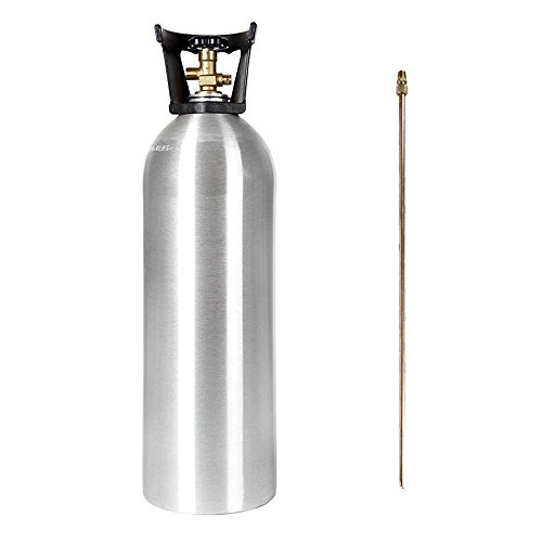 - 20 LB CO2 ALUMINUM CYLINDER TANK NEW WITH DIP TUBE - SHERWOOD CGA 320 VALVE, CARRY HANDLE (HOMEBREW BEER KEG HYDROPONICS)