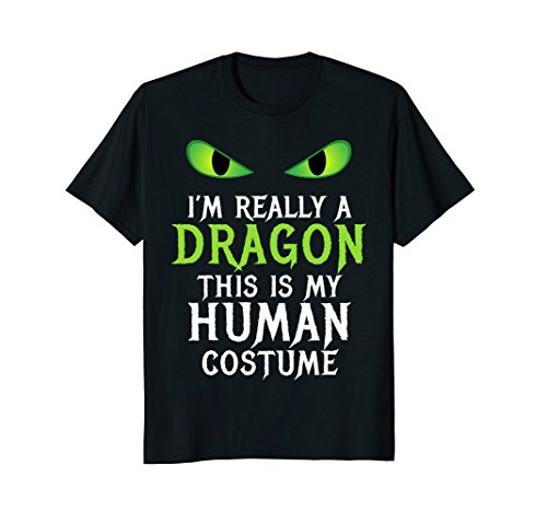 Mens Funny Scary Dragon Costume Halloween Shirt for Women Men Boy Large Black -