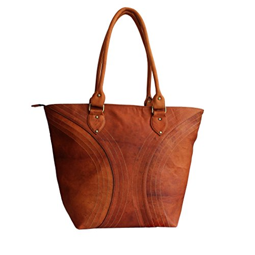 LUST Leather Women's Vintage Leather Handmade Crossbody Tote Bag Brown 14 x 11 Inch