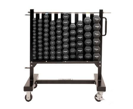 Ivanko Aerobic Hexagon Rubber Dumbbell Club Pack with Rack on Wheels