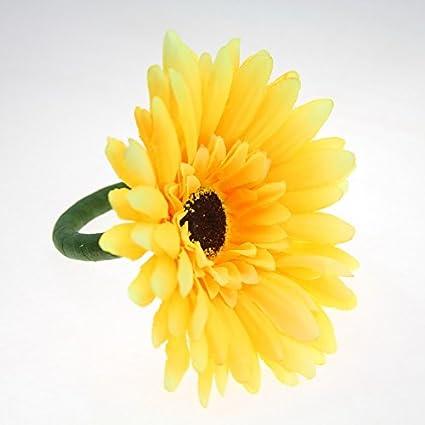 Amazon qn18020502 big yellow silk flower napkin ring wedding qn18020502 big yellow silk flower napkin ring wedding napkin holder 12pcs set mightylinksfo