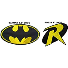 "Blue Heron DC comics Batman 3.5"" and Robin 4"" Logos (2-Pack) Embroidered Iron/Sew-on Applique Patches"
