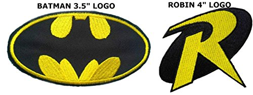 """Blue Heron DC comics Batman 3.5"""" and Robin 4"""" Logos (2-Pack) Embroidered Iron/Sew-on Applique Patches"""