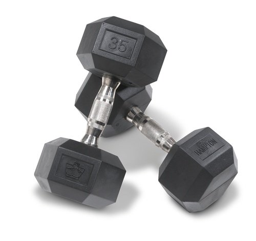 Hampton 22.5 lb Dura-Bell Urethane Coated Pro-Hex Dumbbell Pair