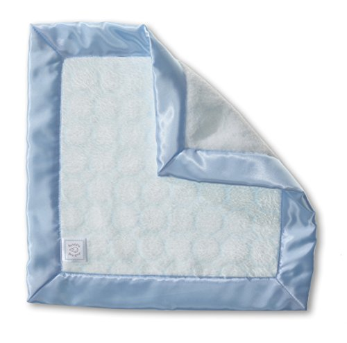 - SwaddleDesigns Baby Lovie, Small Security Blanket, Puff Circles with Satin Trim, Pastel Blue