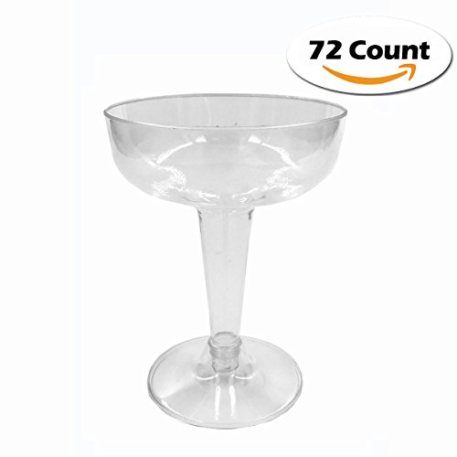 Craft and Party Hard Plastic Two Piece 4-Ounce Champagne Glasses, Clear (72)