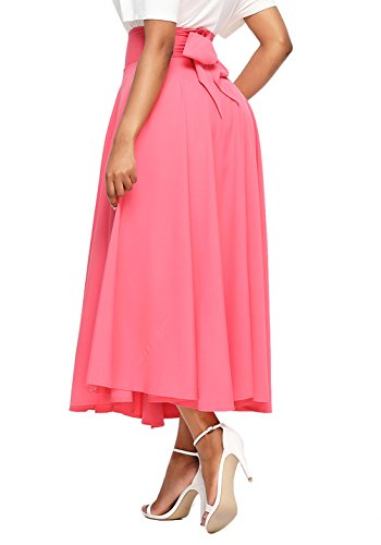 Asvivid Women's High Waist Pleated A Line Skirt Front Slit Belted Maxi Skirt X-Large ()