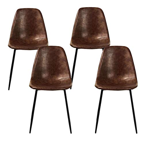 Magshion Side Metal Legs Cushion Seat Back Dining Room Chairs Set of 4 (Brown)