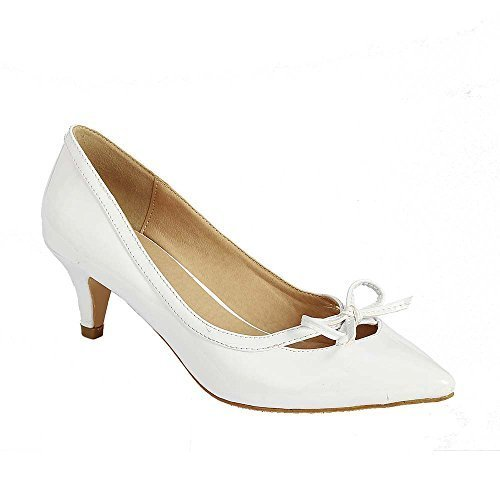 Beston GB80 Women's Pointed Toe Low Heels Bowknot Deco Pump, Color:WHITE,  Size:8.5