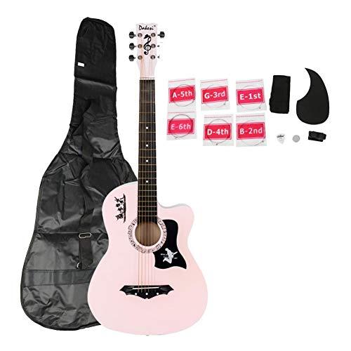 Coaste DK-38C Basswood Guitar Bag Straps Picks LCD Tuner Pickguard String Set Pink Color Acoustic Guitar Strings