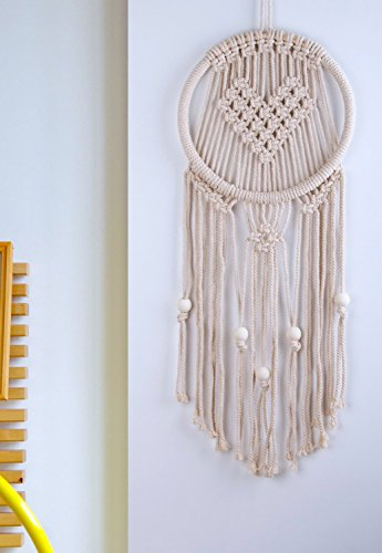 Heart Shaped Woven Macrame Wall Hanging Dream Catcher - BOHO Chic Bohemian Art Decor -