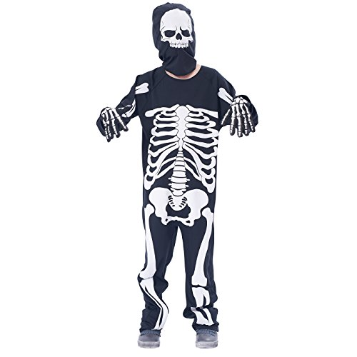 Halloween Costume Kids' Skeleton Jumpsuit, 3Pcs (jumpsuit, gloves, cap) (6-8Y)