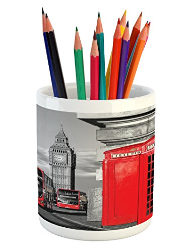 London Pencil Pen Holder by Ambesonne, London Telephone Booth in the Street Traditional Local Cultural Icon England UK Retro, Printed Ceramic Pencil Pen Holder for Desk Office Accessory, Red (London Ceramic)