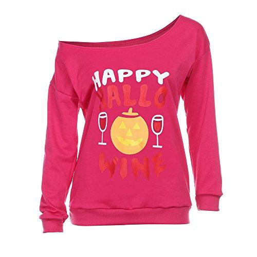 kaifongfu Halloween Blouses for Women Women Off Shoulder Hoodies Shirt (Pink,S)