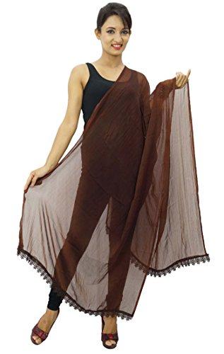 Dupatta Chunni indio Chiffon manga de larga Blend mujer marr cuello bufandas aWq4zw5Oqp