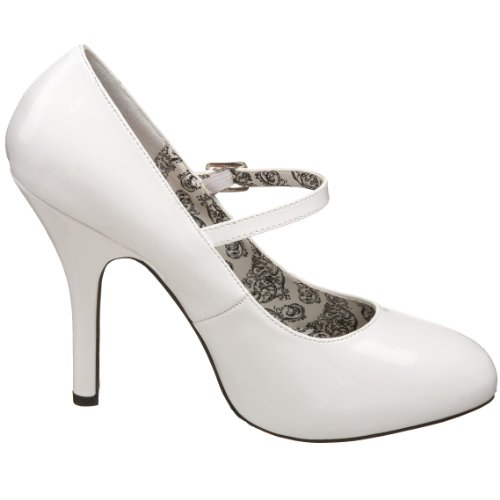 Pleaser Bordello by Women's Tempt-35 Mary-Jane Pump White Patent kbv51