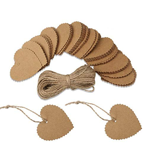 iZasky Kraft Paper Tags Card 100pcs Hollow Heart Shaped Scalloped Wedding Favour Gift Tag Luggage Tag Price Label with 10m Rope (Brown)