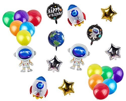 Pack of 23 Space Astronaut Theme Balloons Aluminum Foil Balloons Includes Astronaut Rocket 4D Earth Stars Happy Birthday Balloons Colorful Latex Balloons for Kids Birthday Party Supplies Decoration
